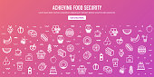 Achieving food security outline style web banner design. Line vector icons for infographics, mobile and web designs.