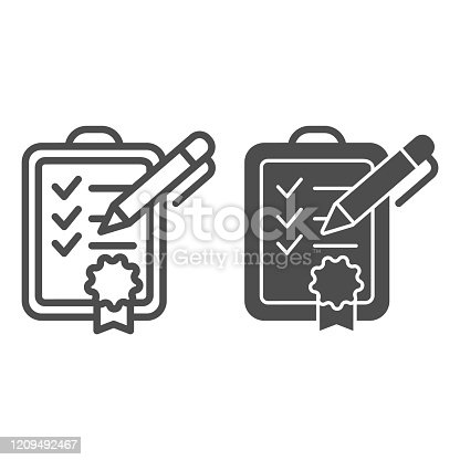 Achievment list line and glyph icon. Checklist vector illustration isolated on white. Verified certificate outline style design, designed for web and app. Eps 10