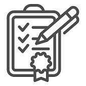 Achievment list line icon. Checklist vector illustration isolated on white. Verified certificate outline style design, designed for web and app. Eps 10
