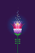 Purple vector flower. Psychedelic illustration t-shirt design. Acid color decor; floral ornament for flat design. Eastern style element. Arabic motifs. Decoration for cover, poster, flyer, card.