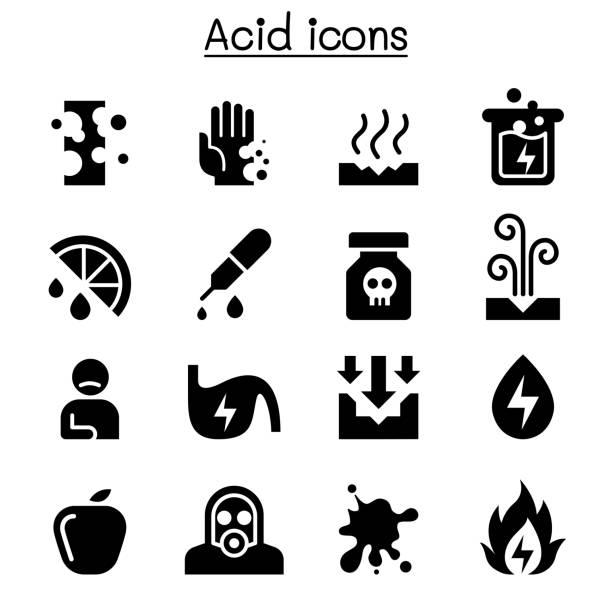 Acid icon set Acid icon set acid stock illustrations