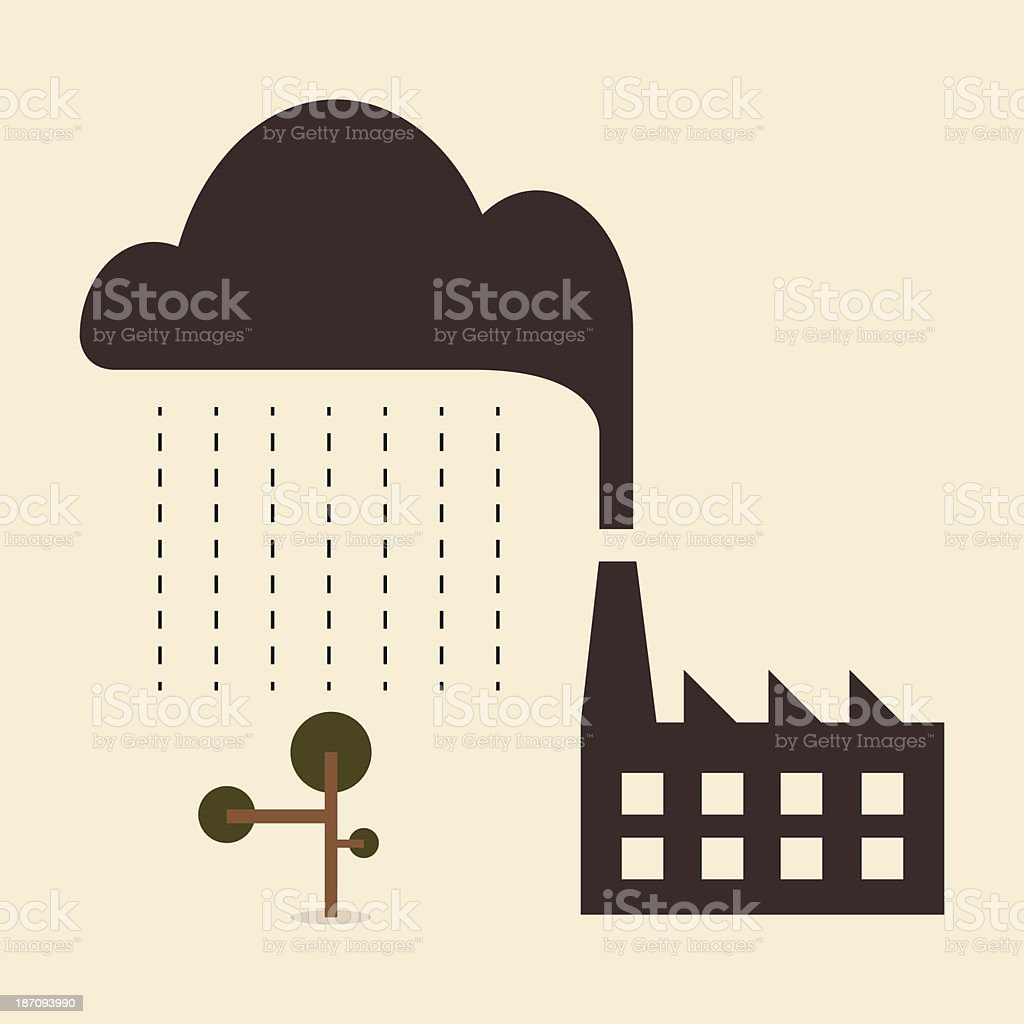Acid rain cause from industry pollution falling to the tree vector art illustration