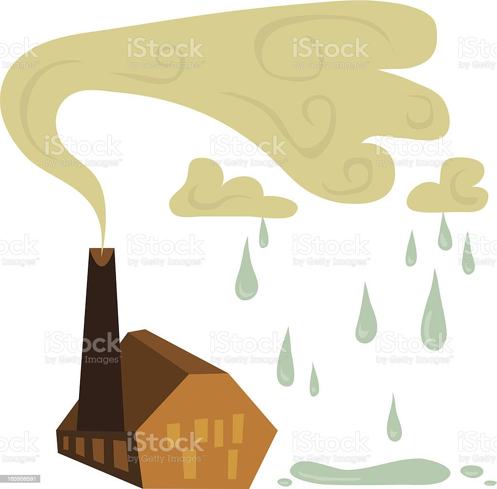 Acid Rain Factory vector art illustration