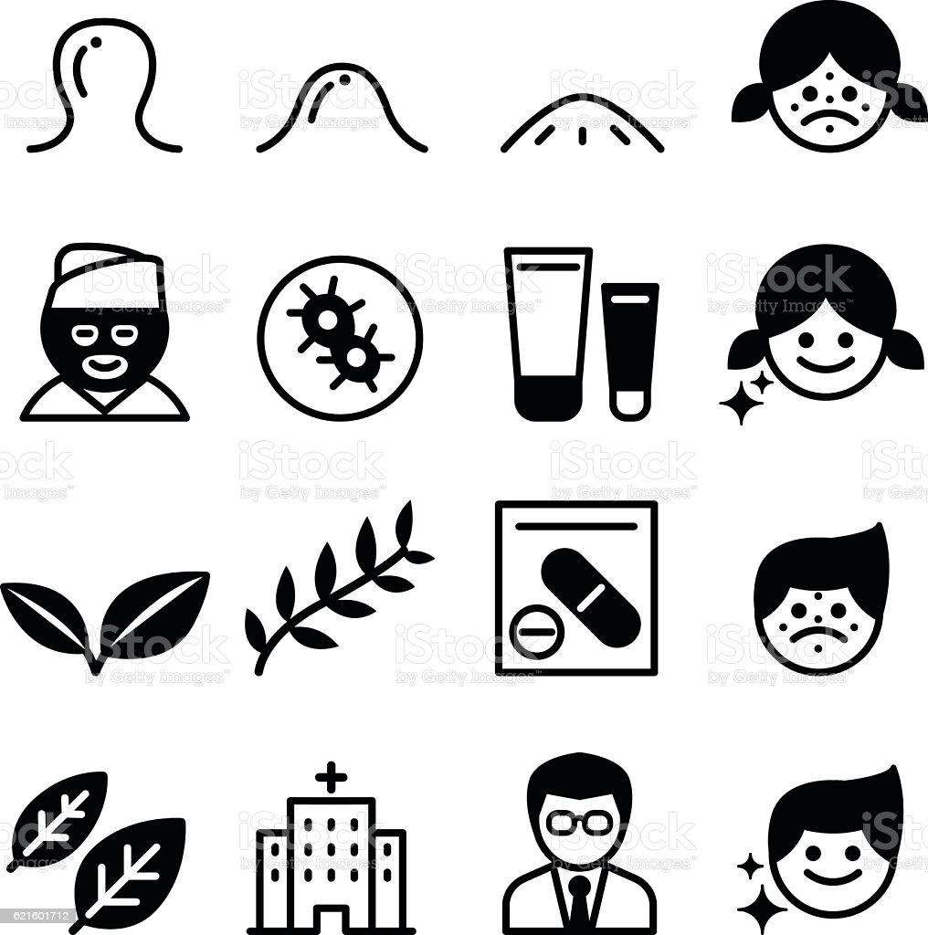 Acne icons vector art illustration