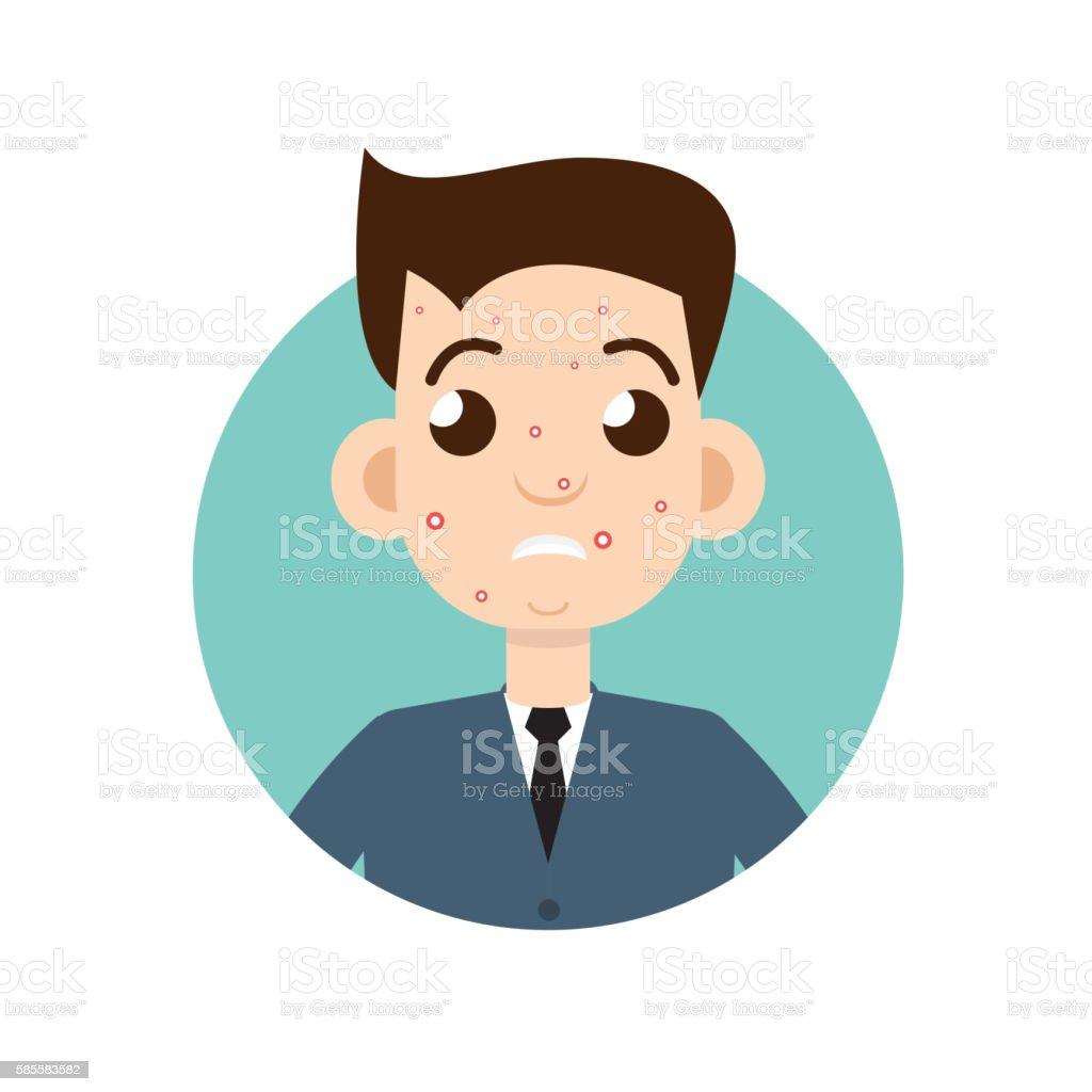 acne man vector art illustration
