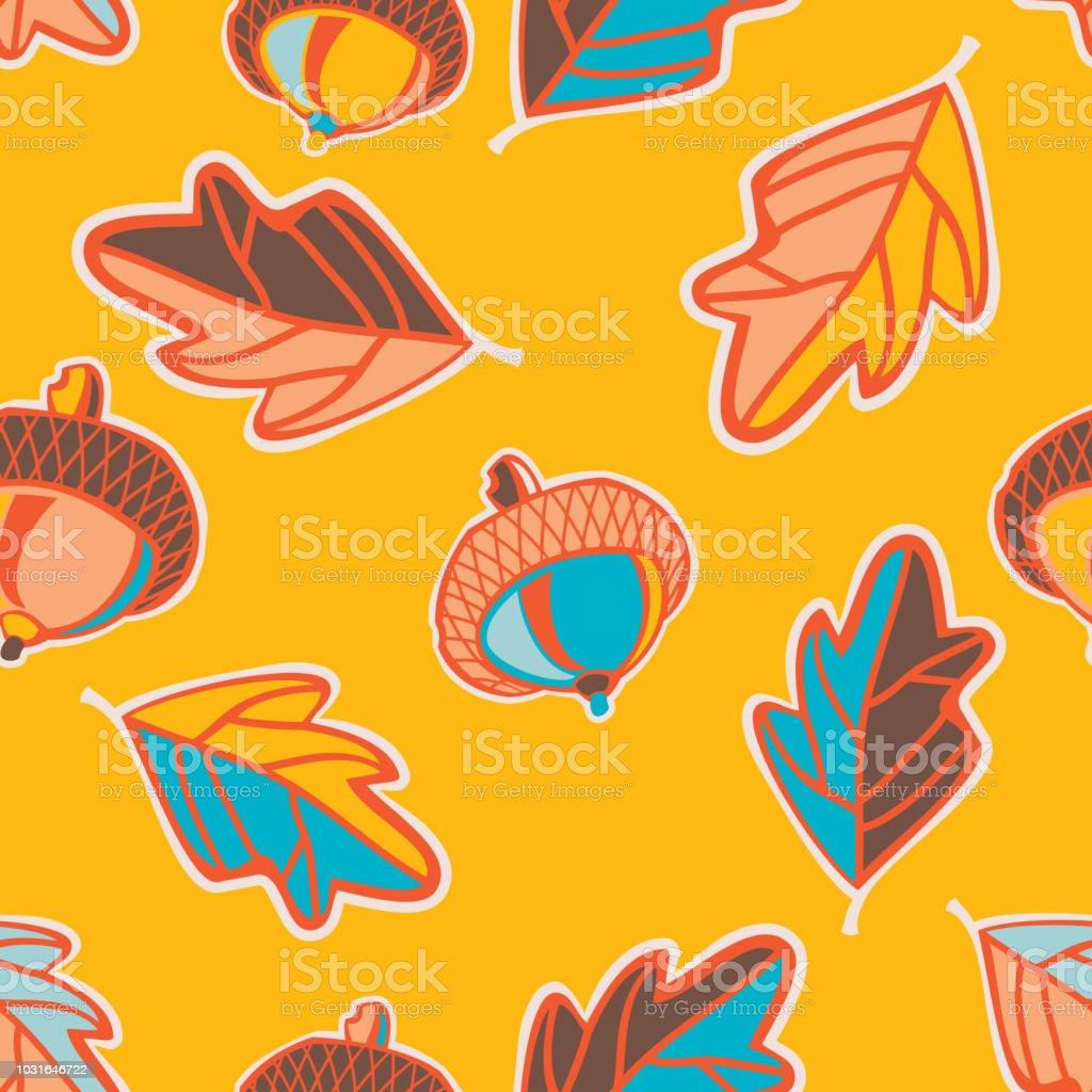 Acorn and Oak Leaves Seamless Pattern vector art illustration