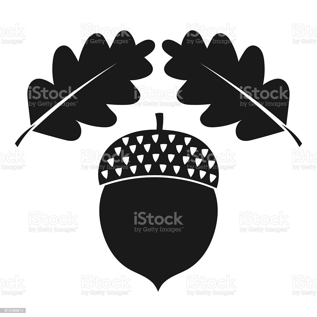 Acorn and oak leaves vector art illustration