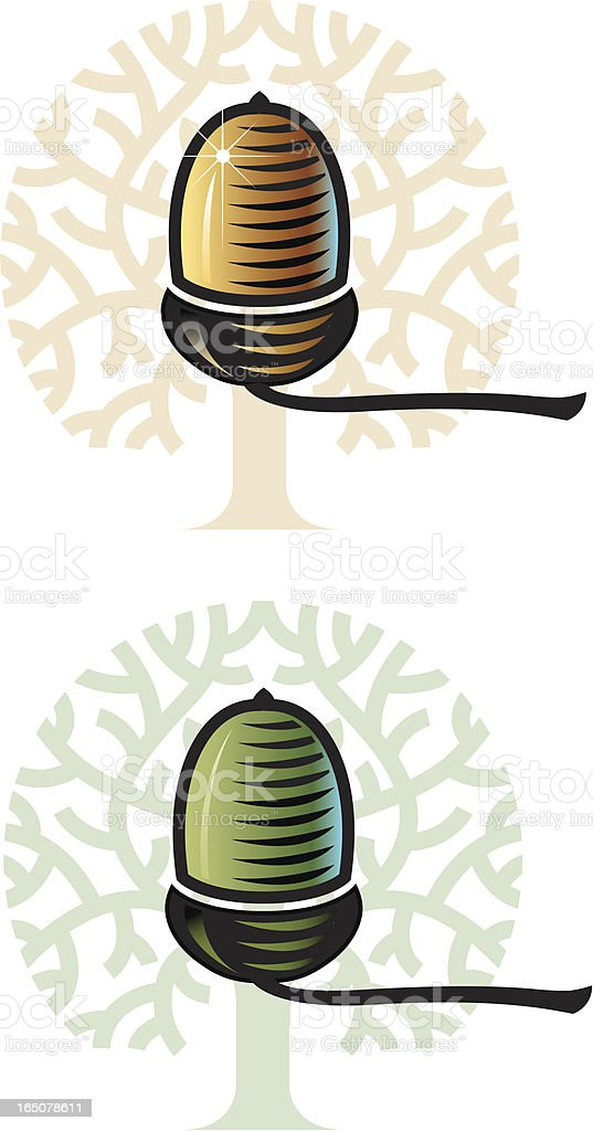 Acorn and tree vector art illustration