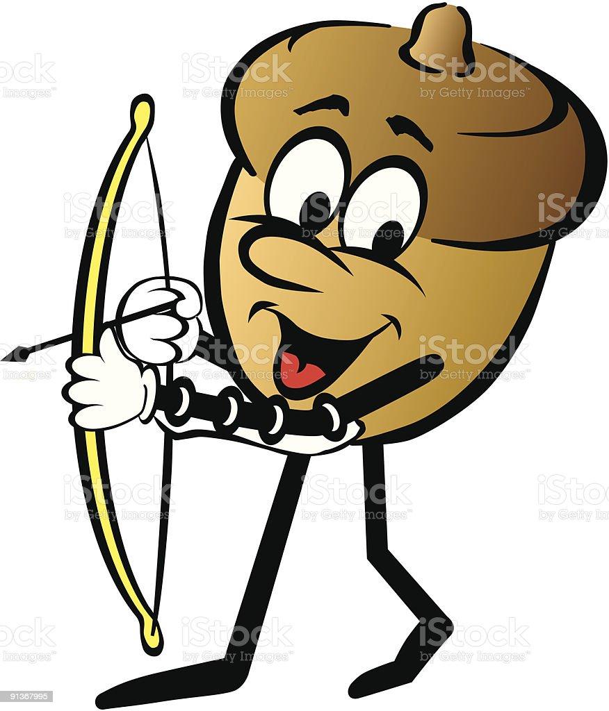 Acorn Cartoon Character With Bow And Arrow Stock Illustration