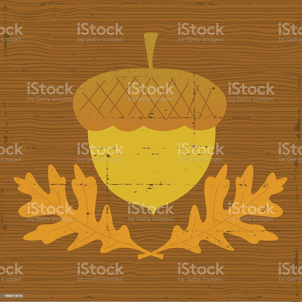 Acorn on Wood Grain - Grunge royalty-free stock vector art