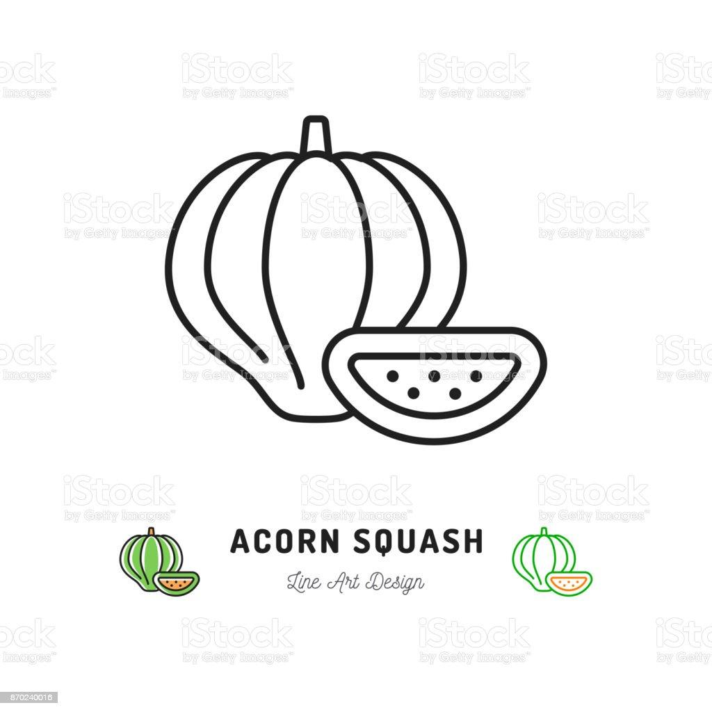 Acorn Squash icon Vegetables . Thin line art design vector art illustration