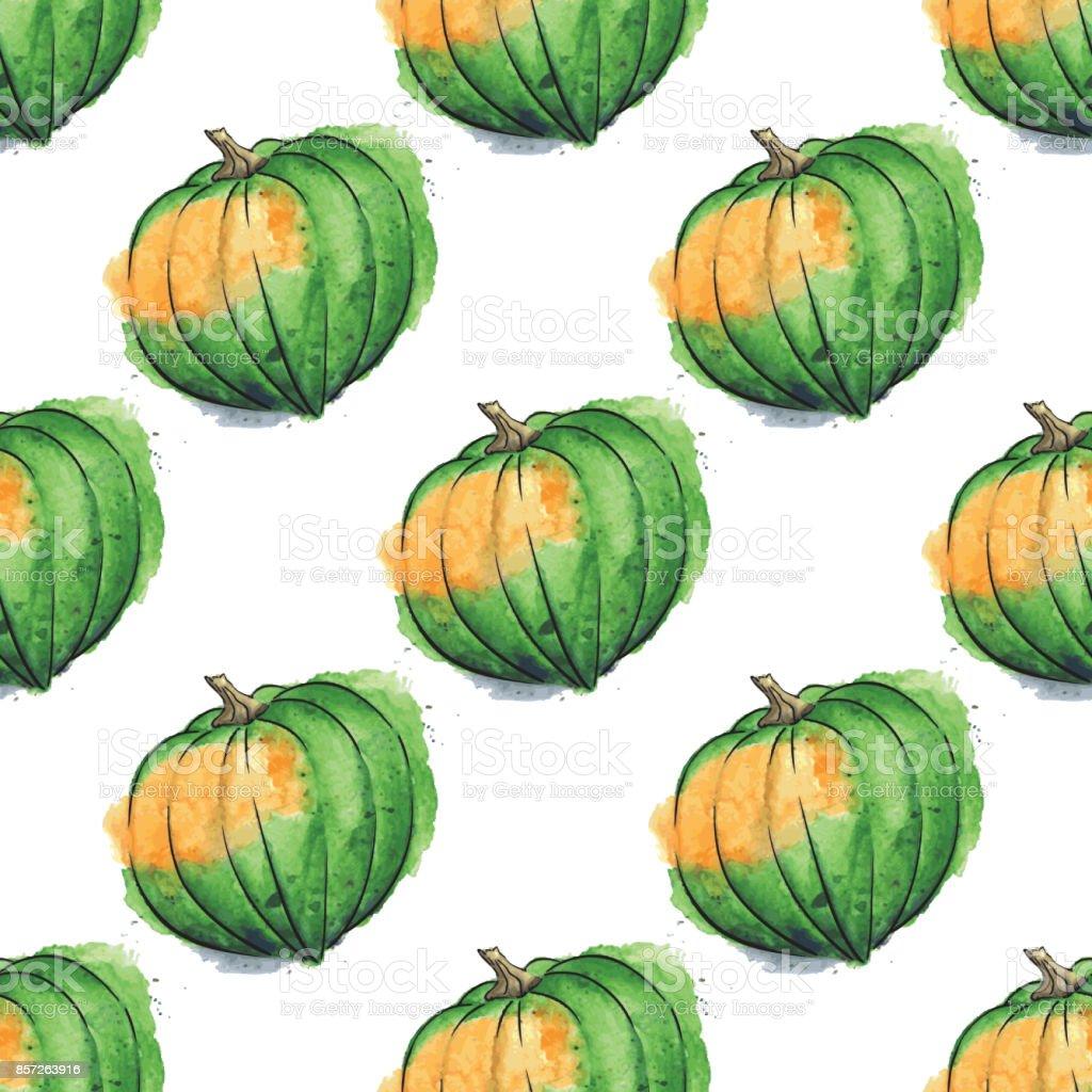 Acorn Squash Watercolor Vector Seamless Pattern vector art illustration