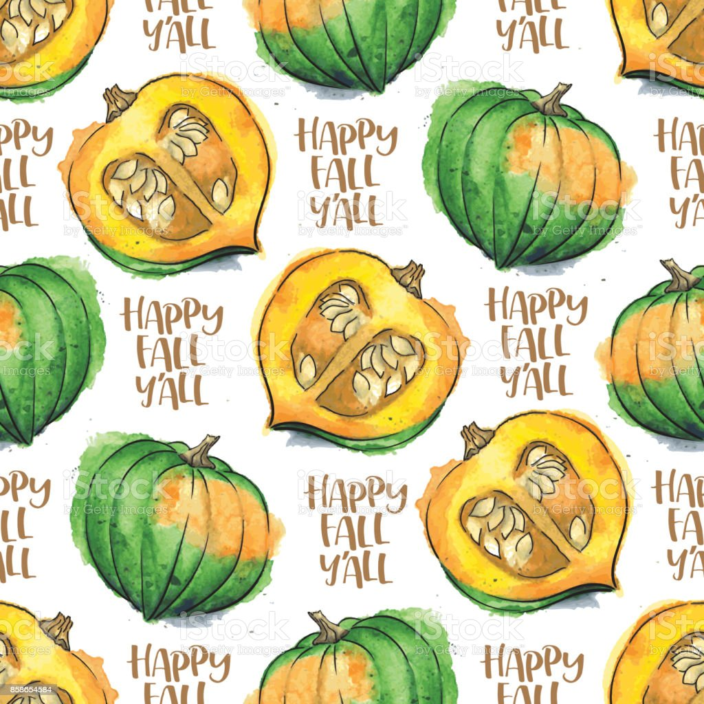 Acorn Squash Watercolor Vector Seamless Pattern With 'Happy Fall Y'All' Calligraphic Text vector art illustration
