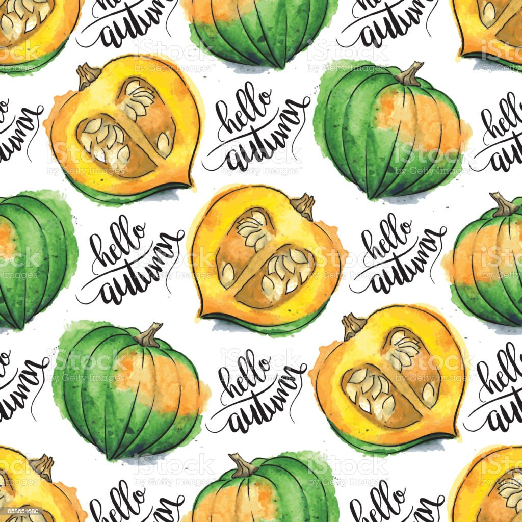 Acorn Squash Watercolor Vector Seamless Pattern With 'hello autumn' Calligraphic Text vector art illustration