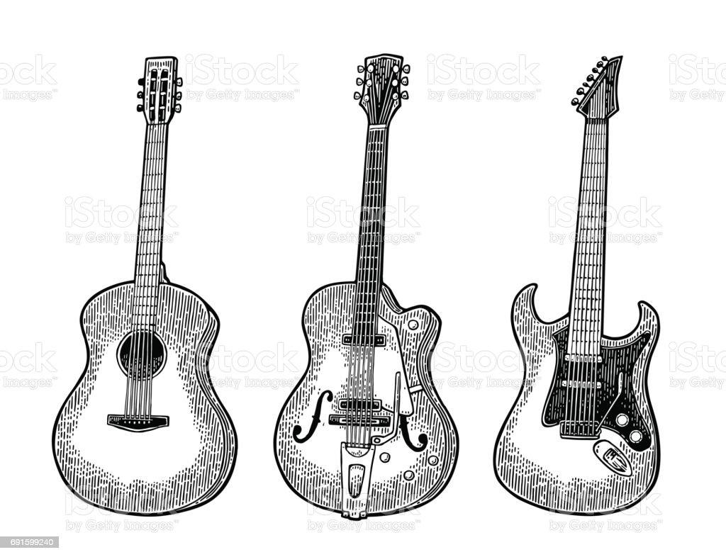 Acoustic and electric guitar. Vintage vector black engraving illustration vector art illustration