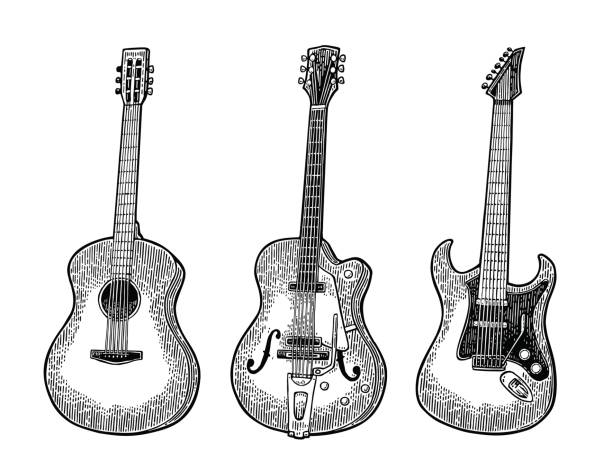 Acoustic and electric guitar. Vintage vector black engraving illustration vector art illustration