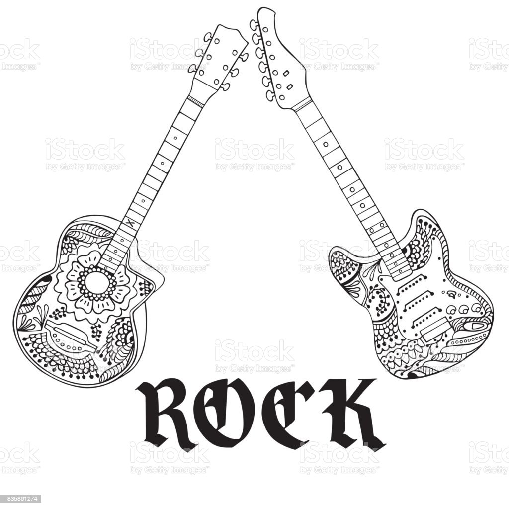 Acoustic And Electric Guitars With Rock Letters Hand Drawn Royalty Free
