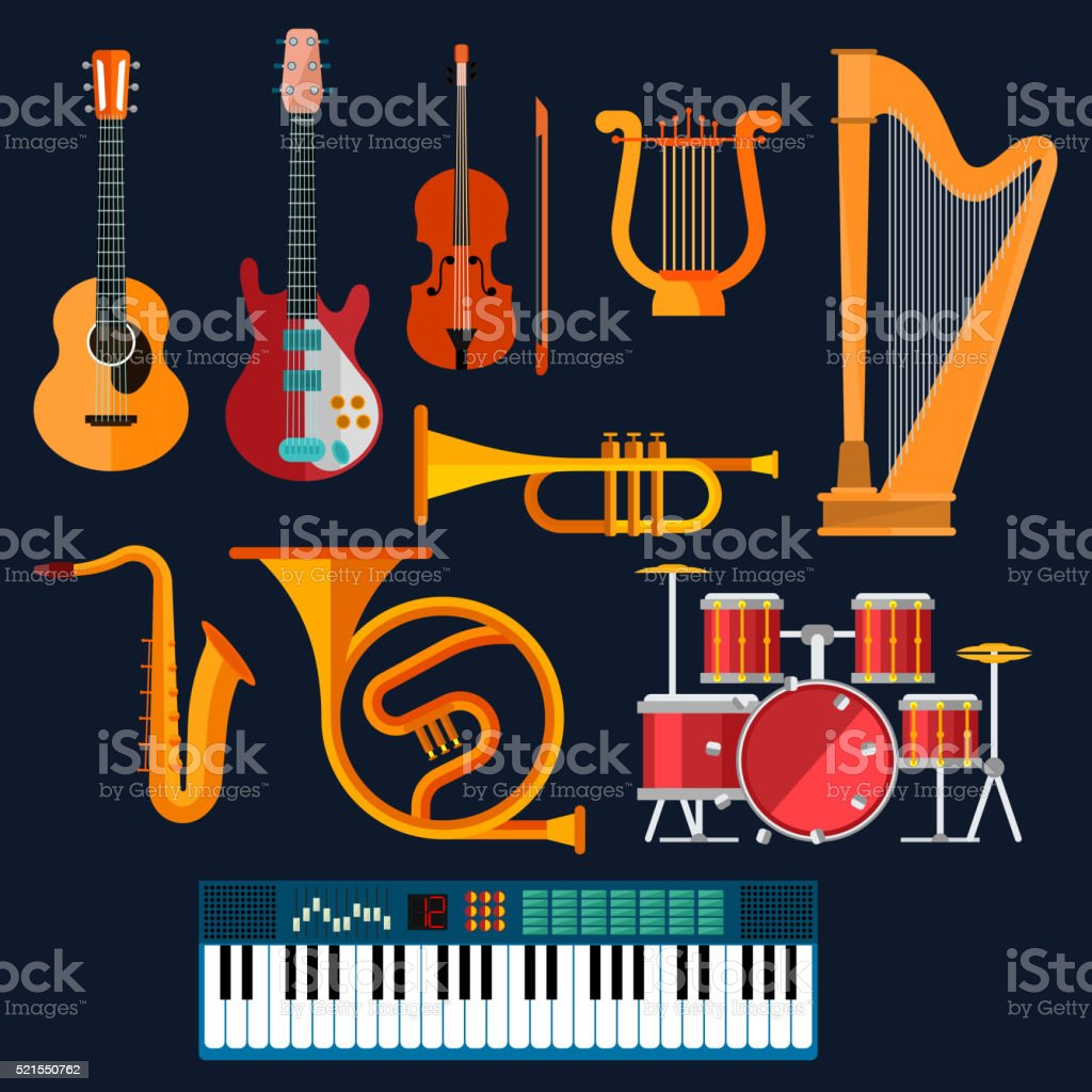 Acoustic and electric musical instruments icons vector art illustration