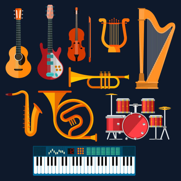 akustyczne i elektryczne instrumenty muzyczne ikony - instrument muzyczny stock illustrations