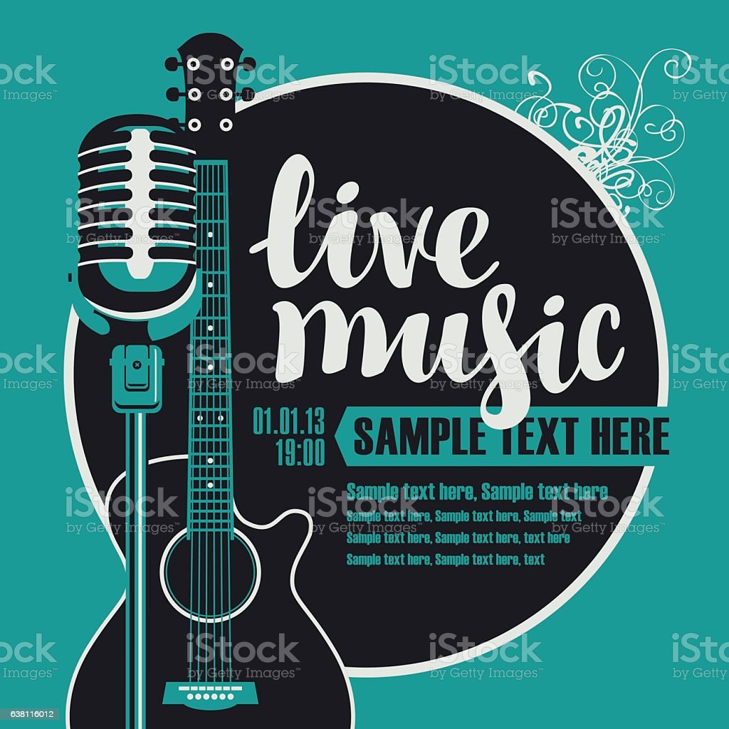 acoustic guitar and a microphone vector art illustration