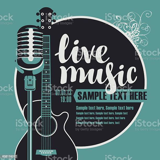 Banner with an acoustic guitar and a microphone for the concert of live music