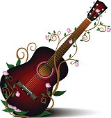 Acoustic guitar and floral flowers abstract