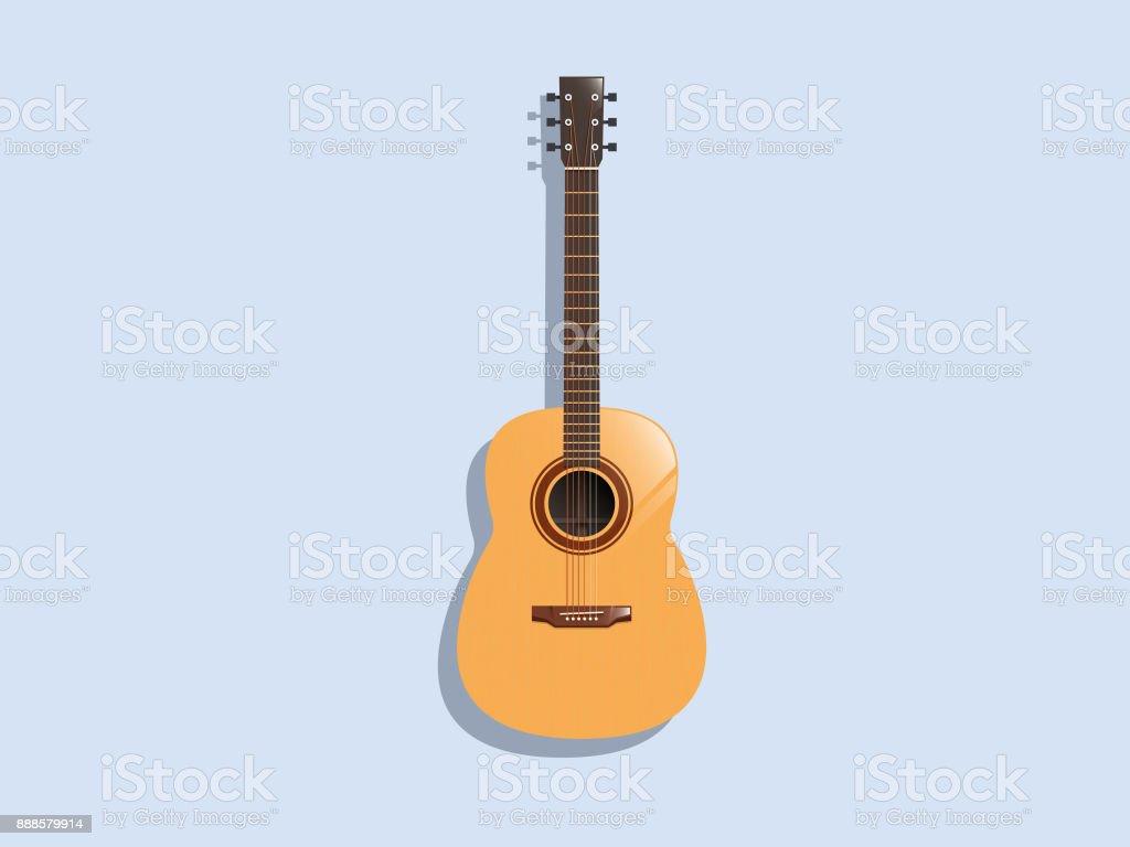 Acoustic Guitar, Classic vector art illustration