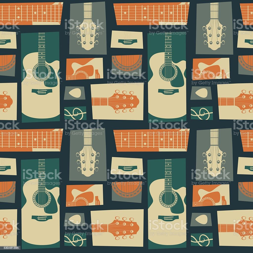 Acoustic guitar collage pattern vector art illustration