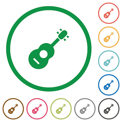 Acoustic guitar flat icons with outlines