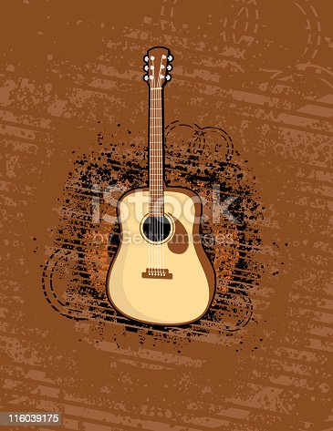 An acoustic guitar illustration with an abstract grunge background. Colors are global.