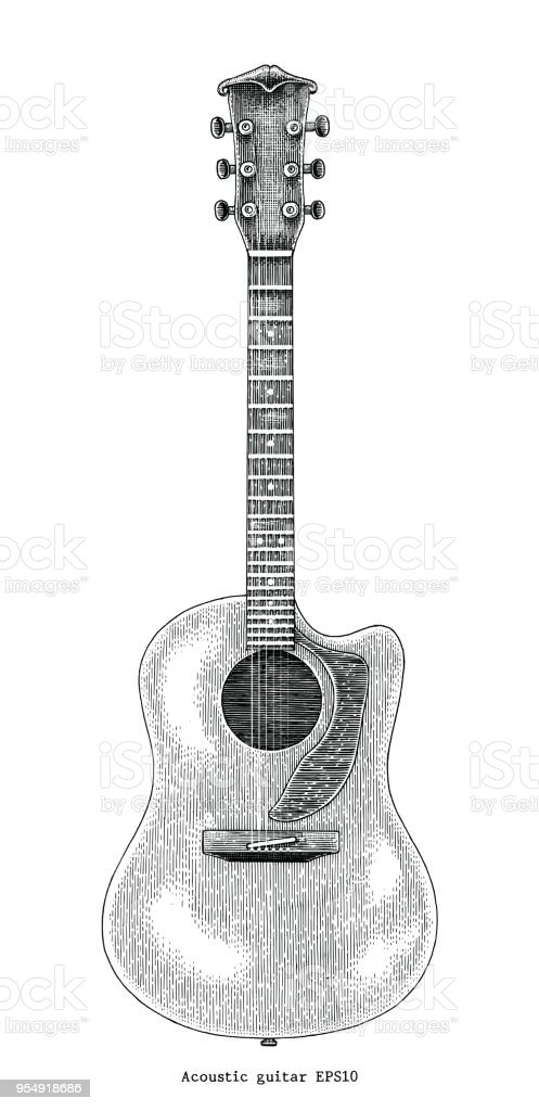 Acoustic Guitar Hand Drawing Vintage Engraving ...