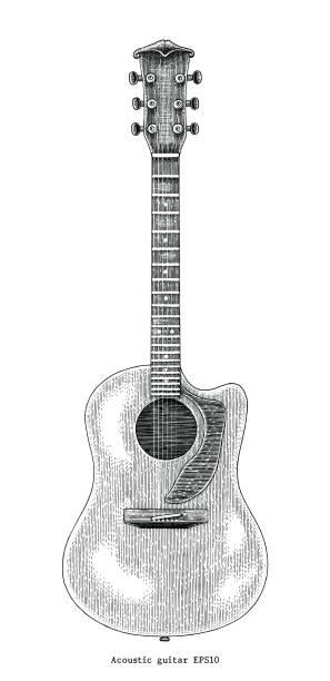アコースティック ギター手図面ヴィンテージの図の彫刻 - ギター点のイラスト素材/クリップアート素材/マンガ素材/アイコン素材