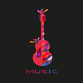 Acoustic guitar hand drawn flat colorful music vector icon. Classic Guitar silhouette design element. Vintage musical string instrument emblem logo template. Advertisement event background illustration