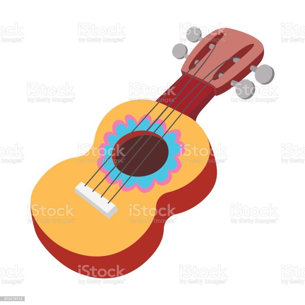 Akustik Gitar Simgesi Karikatür Tarzı Stok Vektör Sanatı Ahşapnin