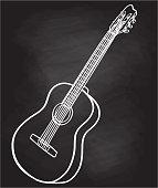istock Acoustic Guitar Icon Chalkboard 1223552149