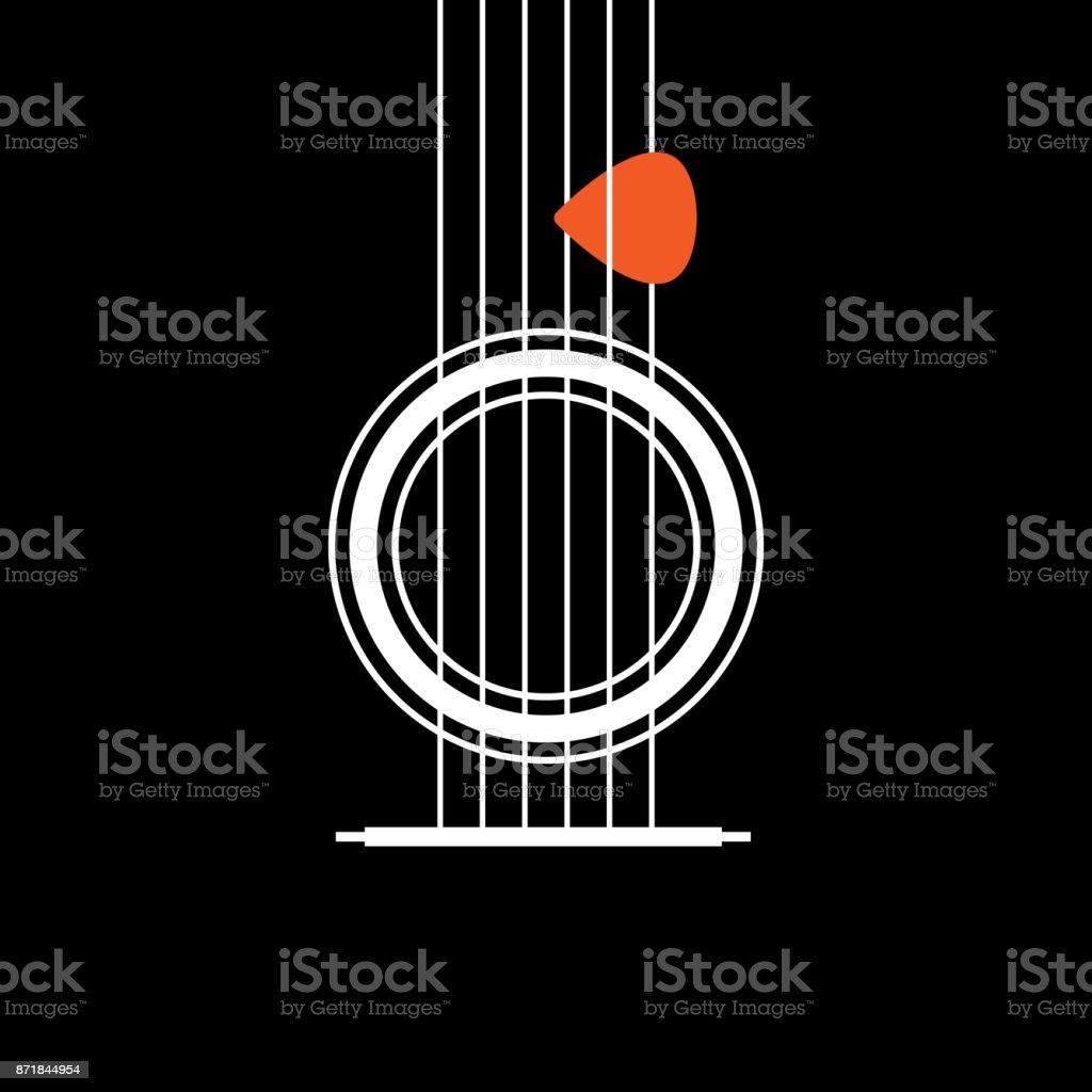 Akustik gitar simgesi. Müzikal kavramı yaratıcı bir fikir. Modern düz ince çizgi tasarlanmış simge vektör çizim vektör sanat illüstrasyonu
