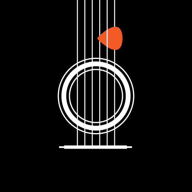 acoustic guitar icon. creative idea concept of musical. modern flat thin line icon designed vector illustration - muzyk stock illustrations