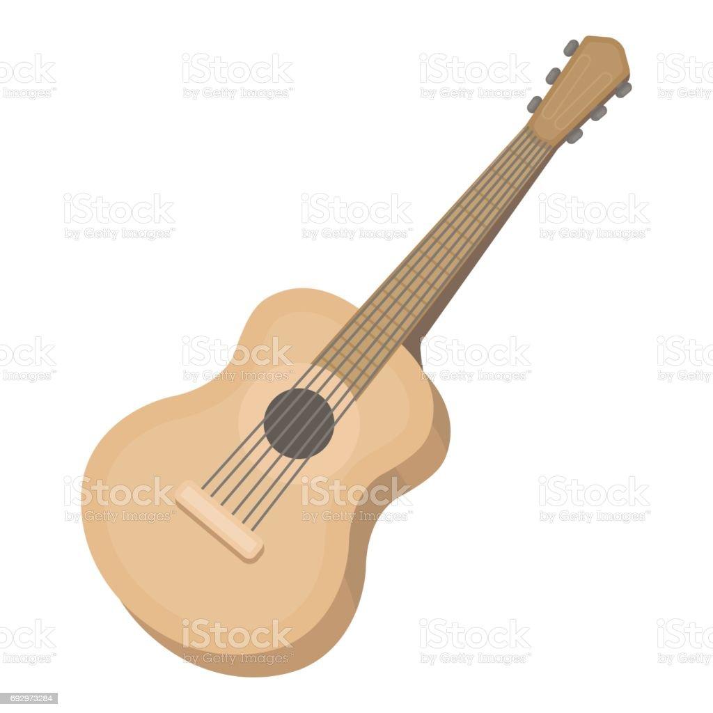 Acoustic Guitar Icon In Cartoon Style Isolated On White Background