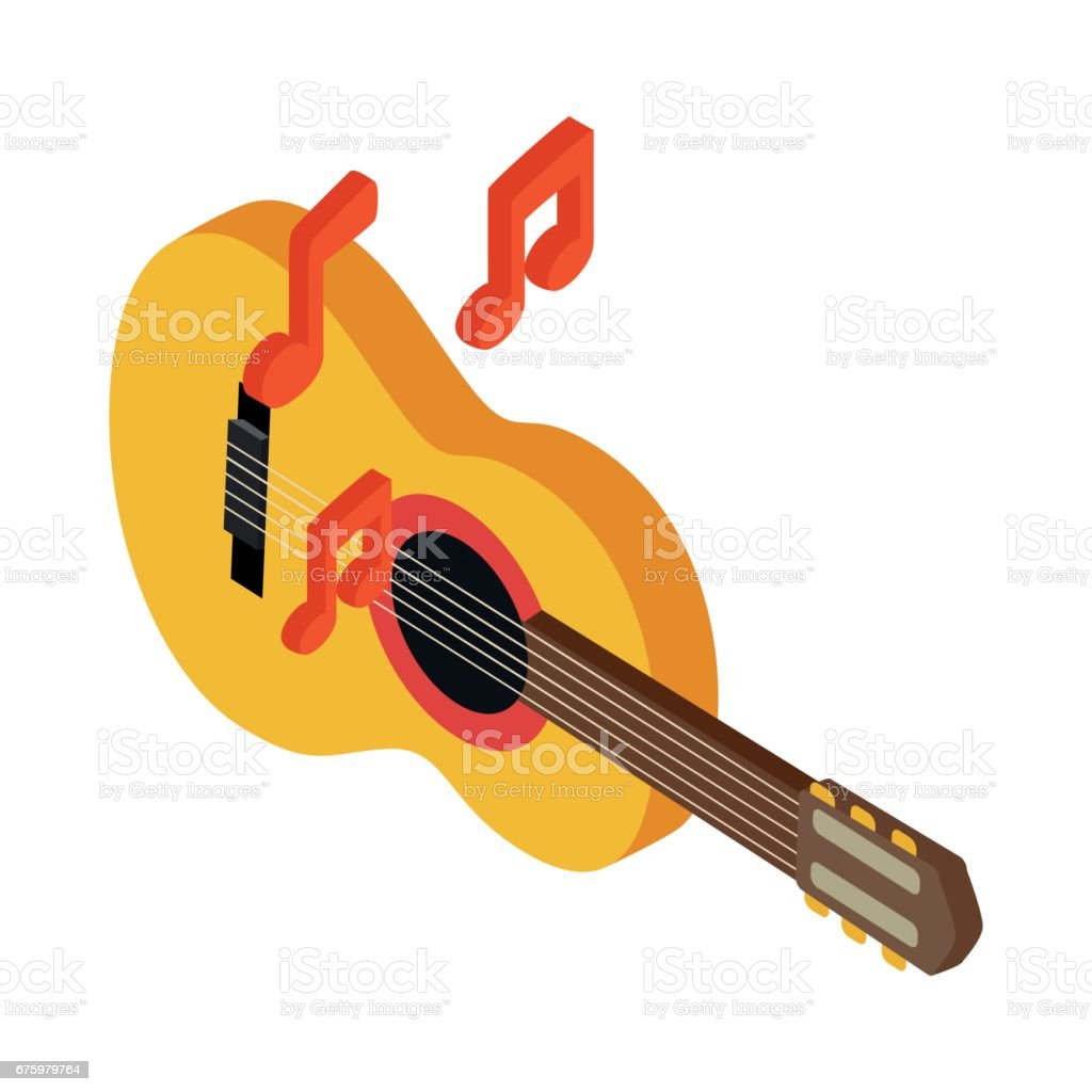 Acoustic Guitar Icon Isometric 3d Style Stock Vector Art 675979764 To String A Guitarguitar Technique Electric Royalty Free