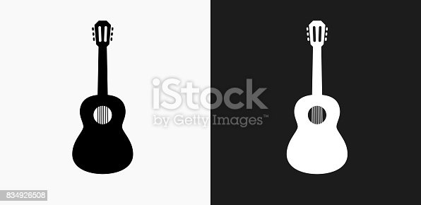 istock Acoustic Guitar Icon on Black and White Vector Backgrounds 834926508