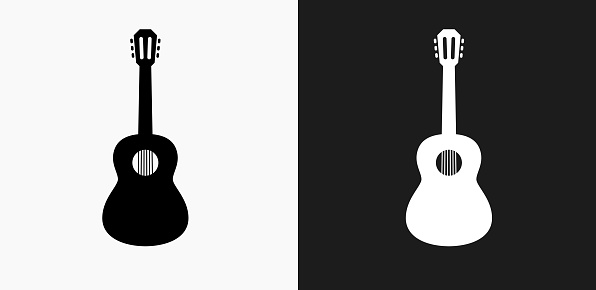 Acoustic Guitar Icon on Black and White Vector Backgrounds