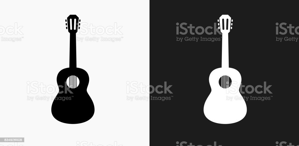 Acoustic Guitar Icon on Black and White Vector Backgrounds vector art illustration