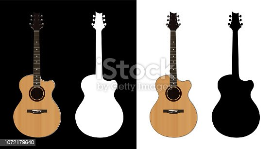Acoustic Guitar illustration and Silhouettes on black and white backgrounds. Music instrument isolated.