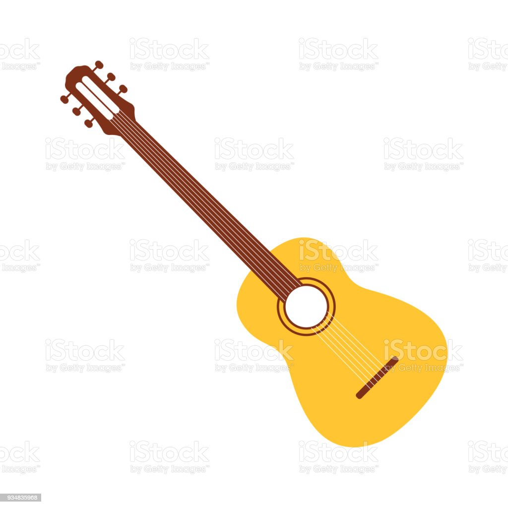 Acoustic Guitar In Cartoon Style Simple Guitar Icon For Traditional ...