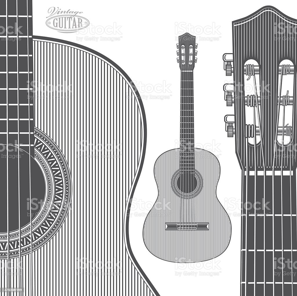 Acoustic Guitar in engraving style vector art illustration