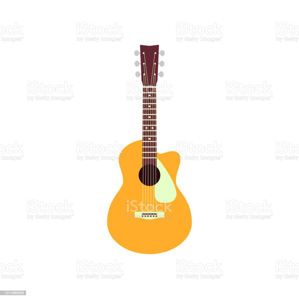 Acoustic guitar isolated on white background. Vector musical instrument
