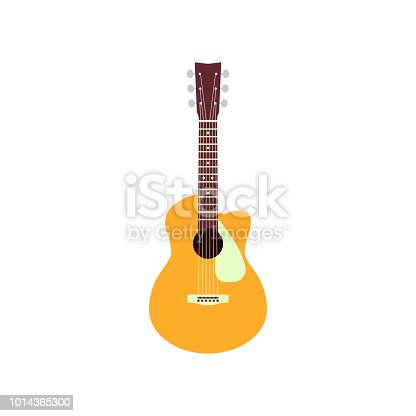 istock Acoustic guitar isolated on white background. Vector musical instrument 1014365300