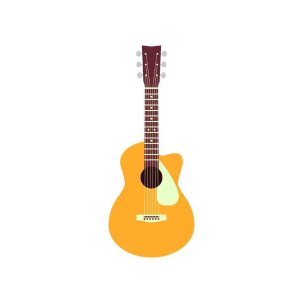 stockillustraties, clipart, cartoons en iconen met akoestische gitaar geïsoleerd op een witte achtergrond. vector muziekinstrument - gitaar