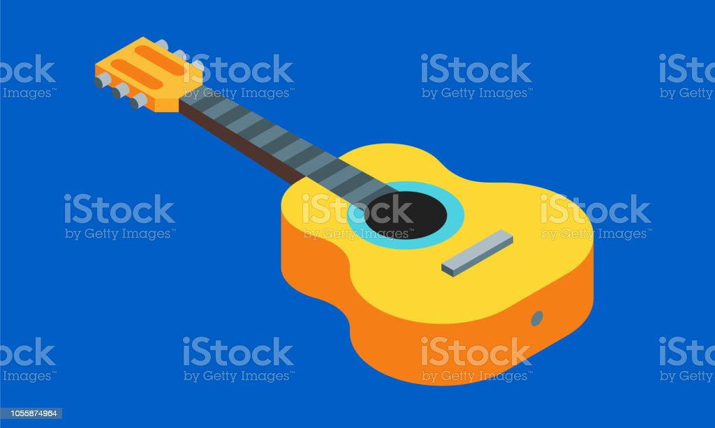 Acoustic Guitar Isometric 3D Icon Vector Illustration