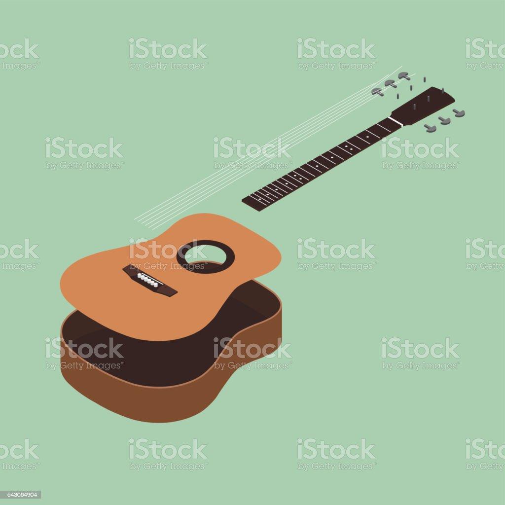 Acoustic guitar isometric flat design vector illustration